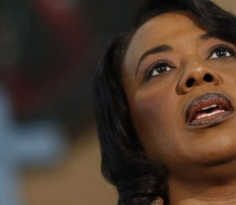 Bernice King speaks during a news conference Thursday, Feb. 6, 2014, in Atlanta at Ebenezer Baptist Church where her father Martin Luther King Jr. preached.