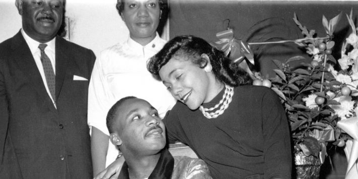Rev. Martin Luther King Jr., seen with his wife, Coretta, is at a Harlem hospital in New York City during a news conference on Sept. 30, 1958.