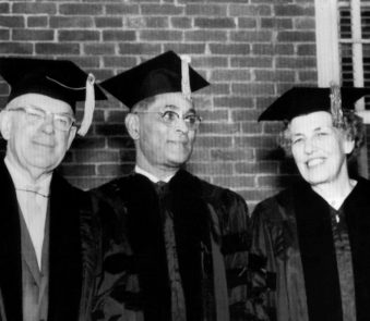 King is among those receiving honorary degrees at the 78th Commencement exercises of Springfield College in Massachusetts on June 14, 1964.