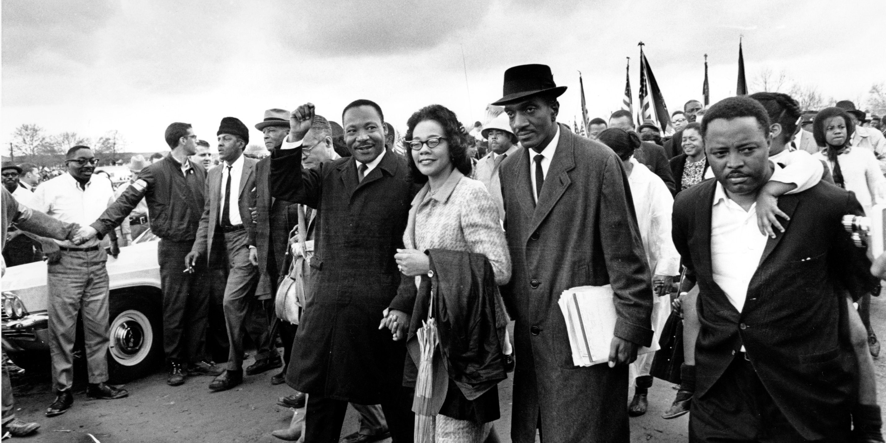 Dr. Martin Luther King Jr., and his wife, Coretta Scott King, lead off the final lap to the state capitol at Montgomery, Ala., on March 25, 1965.
