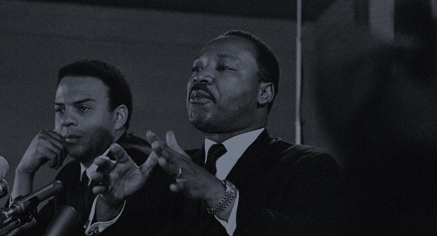 Dr. Martin Luther King, Jr., Feb. 7, 1968 promised a massive demonstration this spring in Washington and hinted the crusade may be extended to the political party conventions in August. King, president of the Southern Christian Leadership Conference said the demonstration in Washington will last for weeks and maybe for months. At left is the Rev. Andrew Young, executive Vice President of the Southern Conference. (AP Photo)
